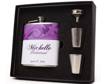 Wedding Party Gift // Five Personalized Flask Gift Sets for your Bridesmaids