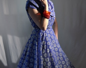 Stunning cobalt flocked 50's dress, almost full circle skirt, with a huge shawl collar & matching cloth belt