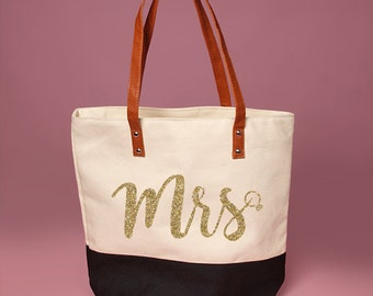 Cute Black and Cream Mrs. with diamond ring Tote Bag