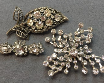 Three Rhinestone Brooches- Free Shipping