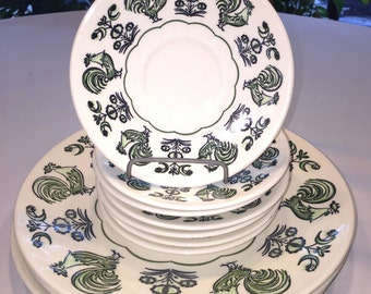 Taylorstone Summer Morn Rooster Plates and Saucers