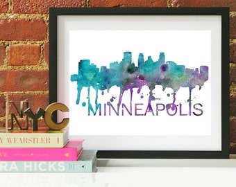 Minneapolis Art, Minneapolis Skyline, Minneapolis map, Minneapolis wall art, Minneapolis map print