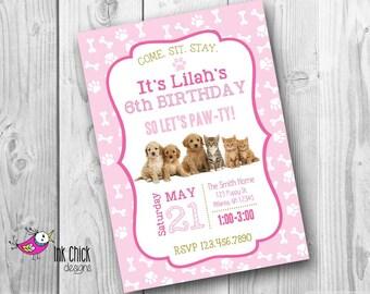 Puppy Invitation, Kitten Invitation, Puppy and Kitten Party, Puppy Party, Dog Invitation, Cat Invitation, Puppy Birthday, Kitten Birthday