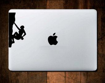Rock Climber Decal #1,  Mountain Decal, Laptop Decal, Macbook Decal, climbing sticker, laptop sticker, climber gift, Macbook Sticker