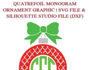 Quatrefoil Monogram Ornament Frame File for Cutting Machines   SVG and Silhouette Studio (DXF)