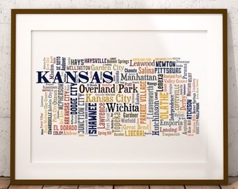 Kansas Typography Map Art Print, Kansas Map Art, Kansas City & Town Map Poster, Kansas Poster Print, Kansas Word Cloud