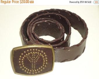 ON SALE 1970's Beautiful Brown Peace Sign Leather Belt, Sz. M
