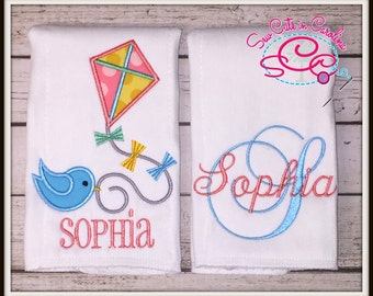 Monogram and Kite Burp Cloth Set