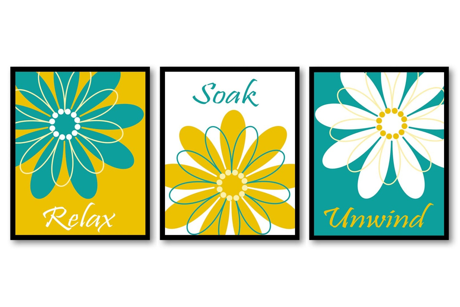 Yellow Turquoise Blue Teal Bathroom Daisy Flower Print Set Of
