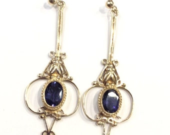 9ct gold iolite drop earrings