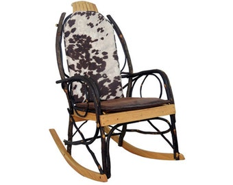 Amish Bentwood Rocker Cushion Set Double Sided   Cow Hide Fabric