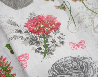 Butterfly tablecloth 54x54. Burlap Linen tablecloth.  Pink Green Grey White tablecloth. 100% LINEN