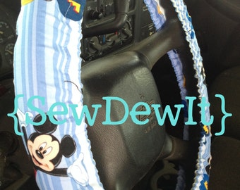 Steering Wheel Cover Mickey Mouse Disney Blue Disneyland Cute Car Accessories