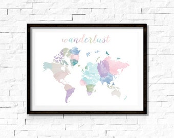 Printable Wall Art - Wanderlust - World Map - Instant Download