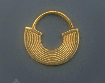 Solid Gold Tribal Septum, 14k Gold Septum Ring, Gold Nose Ring, Gold Septum Jewelry , Gold Septum Piercing in 16g or 18g