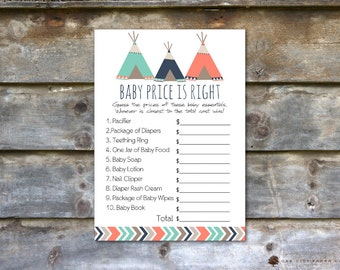 Tribal Price is Right Baby Shower Game - Tribal Baby Shower Price is Right, Baby Price is Right, Price is Right Game - DIY, Instant Download