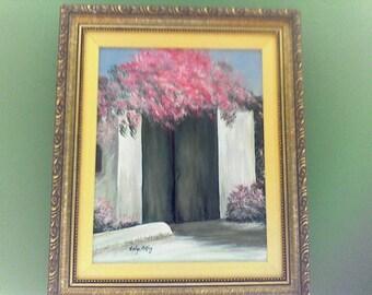 Behind the Green Door , Original Framed Painting, Evelyn Oakley Artist, 1994