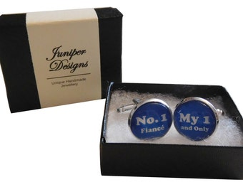 """Handcrafted """"No. 1 Fiance, My 1 and Only"""" Cuff links - excellent Valentines gift for fiance, fiance gift for him - Free UK Shipping"""