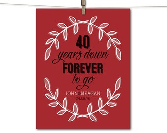 40th wedding anniversary gift etsy for Gift for 40 wedding anniversary
