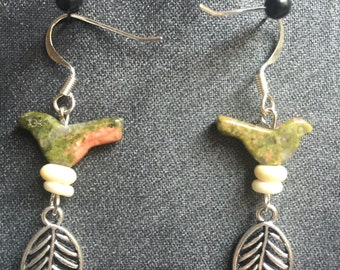 Unakite dangle earrings