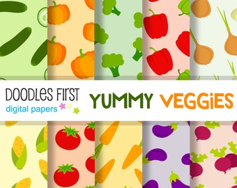 Yummy Veggies Digital Paper Pack Includes 10 for Scrapbooking Paper Crafts