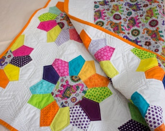 Hand-pieced Elephant Pattern Modern Baby Quilt - All proceeds to Leukemia and Lymphoma Society