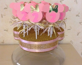 Minnie Mouse lollipop favors in Pink and Gold