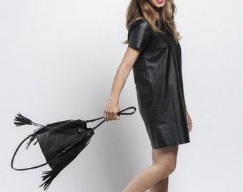 BLACK Bucket bag, Fringed bucket bag, Leather drawstring bag, Leather Bucket bag, Sale!
