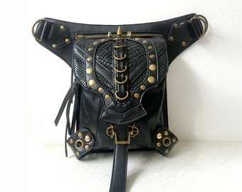 Steampunk Waist Belt Bag Rivet Cycling Fanny Packs Women Men Mobile Phone Bag Shoulder Messenger Bag