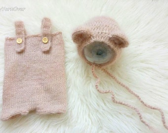 Match from 11 colors and sizes Crochet   Baby Teddy Bear  Bonnet and Pants- Newborn Photography Props- Baby Crochet Hat