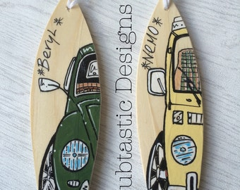 Personalised Mini wooden Surfboard handmade with surfing or VW Camper Van Artwork