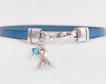 Cervical Cancer Awareness Bracelet - Teal 5mm 5mm Flat Leather Bracelet with Awareness Ribbon and Lobster Clasp  (5FA-195)