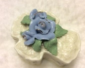 Lily Creek porcelain blue roses rosary trinket jewelry box. Free ship