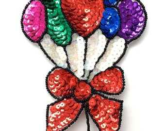 "Sale! Balloons with Bow Applique, Sequin Beaded,  7"" x 4.5""  -B019-0180"