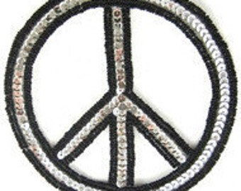 """Peace Sign Applique, Sequin Beaded, 5""""  -B152-0248-0227"""