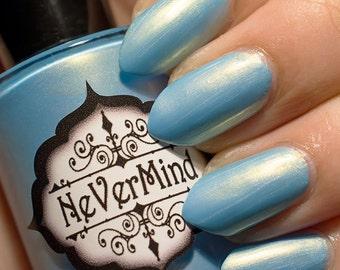 Light Blue - Gold Shimmer Nail Polish - Full Size 15ml Bottle - 5 Free - Angelic Polish / Raziel