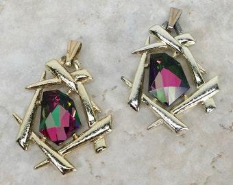 1960s Watermelon Rhinestone Pendants Pair(2) // Signed Sarah Coventry Jewelry