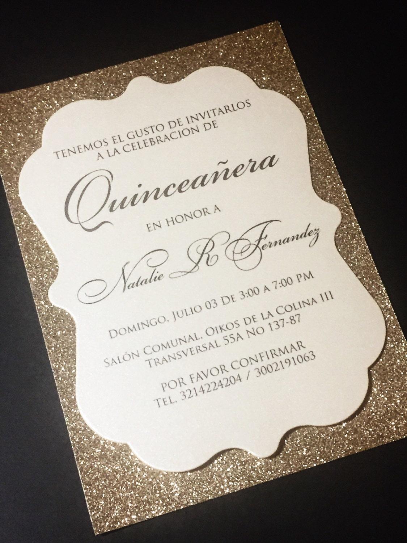 Quinceañera Invitation Sweet 16 Invitation Glitter