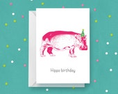 Hippo Birthday Card – greeting card, hippo, hippopotamus, birthday, party hat, animal, happy birthday, go wild