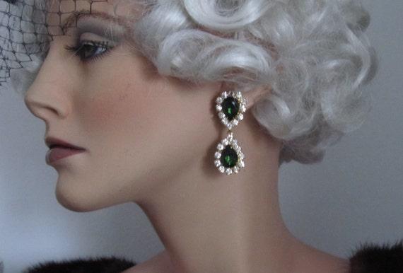 Vintage 1950's Czech Rhinestones Dangle Earrings