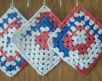 Crocheted Cotton Granny Square Face cloths/ Bath Cloths / Dishcloths - set of 4 Red, White, and Blue