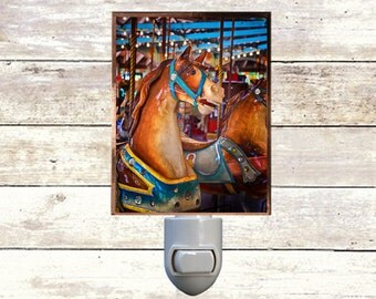 Newborn Night Light - Carousel 7 - New Orleans art -  Handmade - Copper Foiled - Childrens room - Nursery Art - Lighting -
