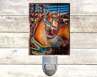 Newborn Night Light - Carousel 7 - New Orleans art -  Handmade - Copper Foiled - Childrens room - Nursery Art - Lighting -
