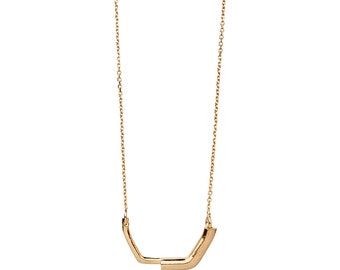 Half Square 14K Gold Small Geometric Minimalist Statement Necklace - Step Collection