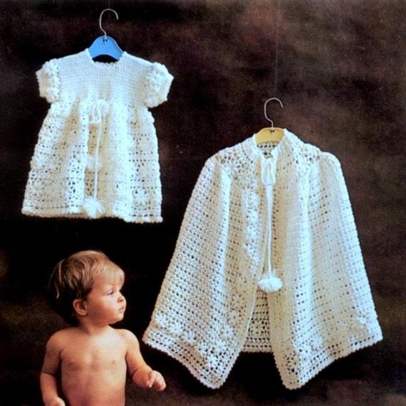 Crochet Pattern Communion Cape : Vintage Crochet Pattern PDF Baby Christening Set Dress and