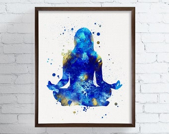 Yoga Print, Yoga Art, Yoga Wall Art, Watercolor Art, Yoga Studio Decor, Yoga Room, Yoga Gifts, Yoga Poster, Yoga Poses, Meditation, Zen Art