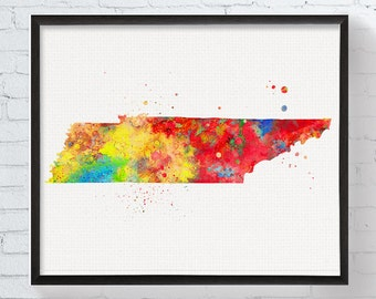 Tennessee State Art, Tennessee Map, Watercolor Map, Tennessee Poster, Tennessee Wall Decor, Tennessee Art Print, Dorm Decor, Office Decor