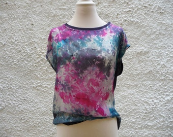 Loose shirt, blue blouse,oversized blouse, abstract floral top,loose fit top,silk top,wearable art,hand painted blouse,loose top,womens tops