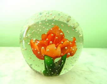 Vintage 1970's Clear Glass Paperweight, Bubble and Orange Flower Rose