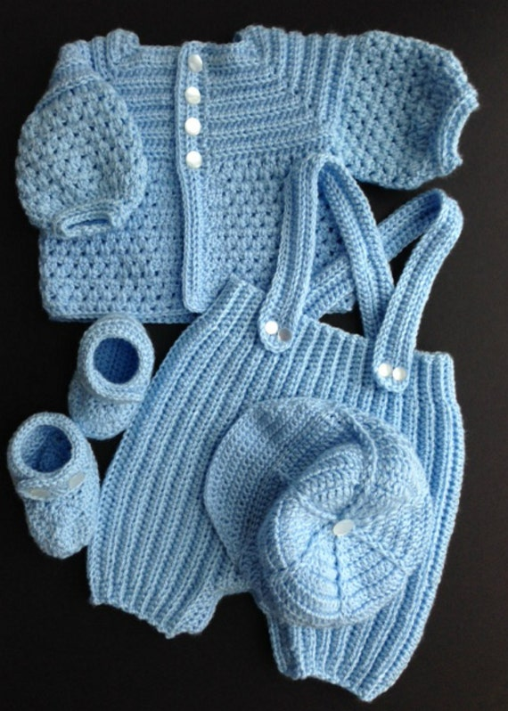 Crochet Pattern For Baby Boy Loafers : Baby Boy Crocheted Outfit